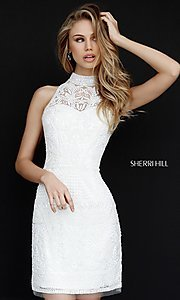 Sherri Hill Open Back Short Lace Homecoming Dress