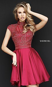 Short Sherri Hill High Neck Homecoming Dress with Open Back