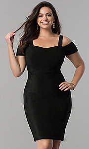 Empire-Waist Short Cold-Shoulder Plus Party Dress