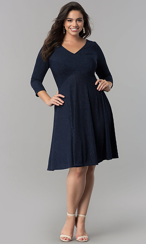 Image of plus-size knee-length party dress with 3/4 sleeves. Style: MB-MX1372 Detail Image 1