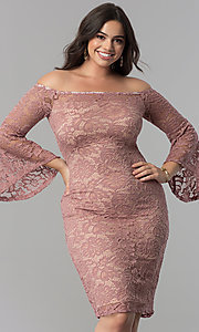 Image of empire-waist lace off-the-shoulder plus party dress. Style: MB-MX1373 Front Image