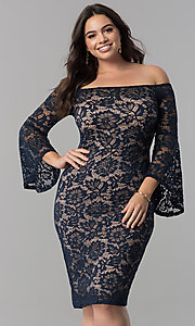 Empire-Waist Lace Off-the-Shoulder Plus Party Dress