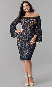 Image of empire-waist lace off-the-shoulder plus party dress. Style: MB-MX1373 Detail Image 1