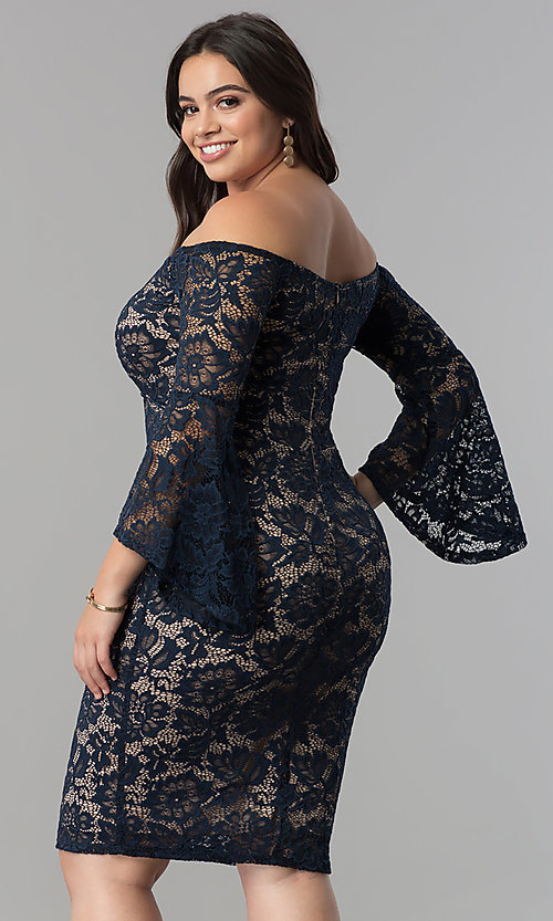 Image of empire-waist lace off-the-shoulder plus party dress. Style: MB-MX1373 Back Image