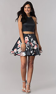 Image of two-piece black navy satin halter homecoming dress. Style: BL-A11405 Detail Image 1