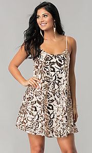 Short Sequin Homecoming Dress with Adjustable Straps