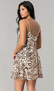 Image of short sequin homecoming dress with adjustable straps. Style: EM-DQR-3281-690 Back Image