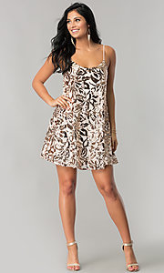 Image of short sequin homecoming dress with adjustable straps. Style: EM-DQR-3281-690 Detail Image 1