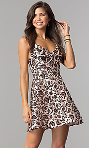 Image of black glitter-print short party dress in blush pink.  Style: EM-FKW-3312-692 Front Image