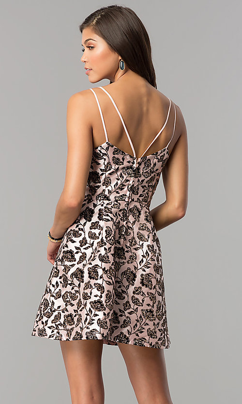 Image of black glitter-print short party dress in blush pink.  Style: EM-FKW-3312-692 Back Image