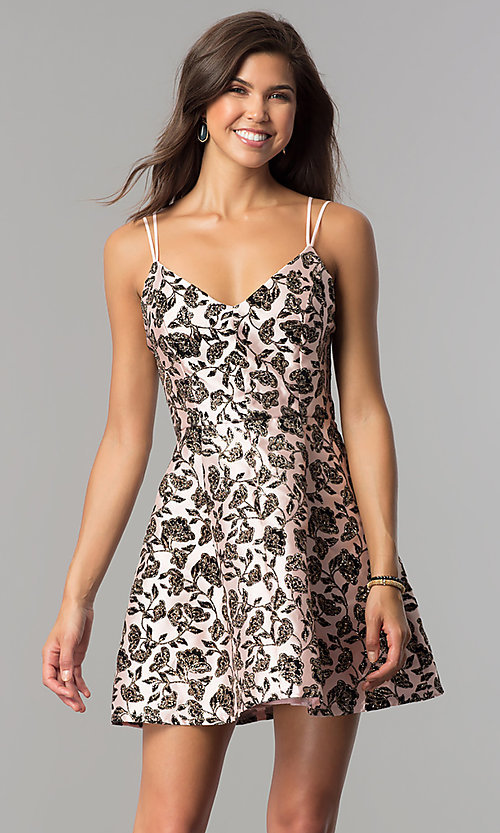 Image of black glitter-print short party dress in blush pink.  Style: EM-FKW-3312-692 Detail Image 1
