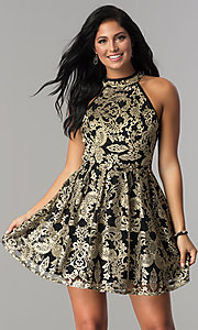 Image of embroidered gold lace-applique homecoming dress. Style: EM-FLR-3289-030 Front Image