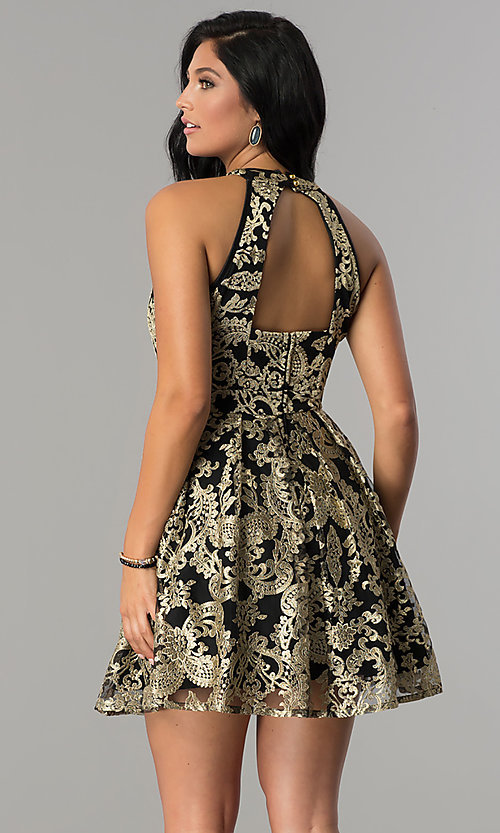 Image of embroidered gold lace-applique homecoming dress. Style: EM-FLR-3289-030 Back Image