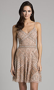 Blush Pink Beaded V-Neck Homecoming Dress