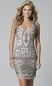 Beaded Homecoming Dress with a V Back