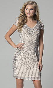 Champagne Cap-Sleeved Beaded Homecoming Dress