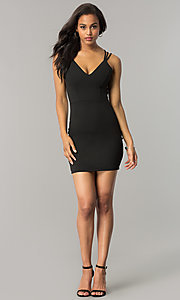 Image of short v-neck black party dress with strappy back. Style: SY-ID4888VP Detail Image 1