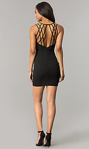 Image of short v-neck black party dress with strappy back. Style: SY-ID4888VP Detail Image 2