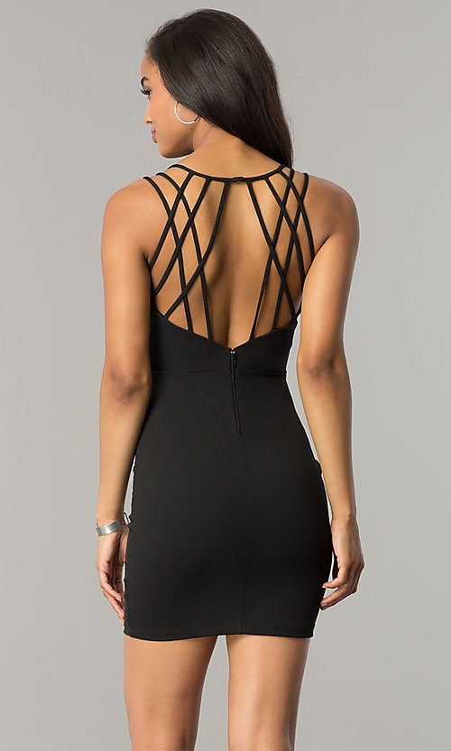 Image of short v-neck black party dress with strappy back. Style: SY-ID4888VP Back Image