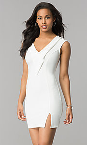 Image of short sleeveless party dress with v-neck lapel. Style: SY-ID4915VP Detail Image 2