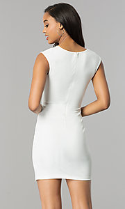 Image of short sleeveless party dress with v-neck lapel. Style: SY-ID4915VP Back Image