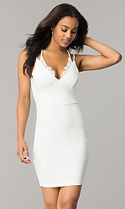 Image of short v-neck sheath party dress with lace detailing. Style: SY-ID4917VP Front Image