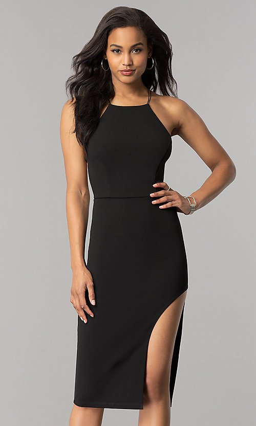Image of short midi black cocktail dress with strappy back. Style: SY-ID4918VP Front Image