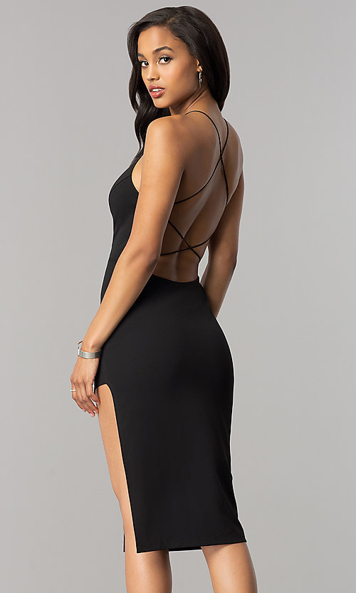 Image of short midi black cocktail dress with strappy back. Style: SY-ID4918VP Back Image