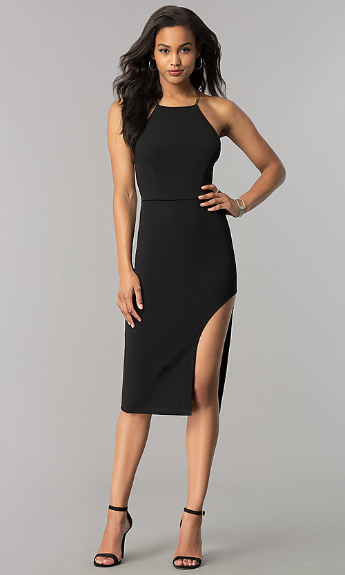 Image of short midi black cocktail dress with strappy back. Style: SY-ID4918VP Detail Image 1
