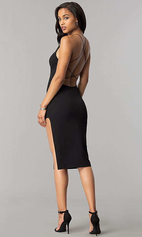 Image of short midi black cocktail dress with strappy back. Style: SY-ID4918VP Detail Image 2