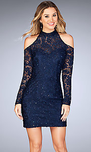 Short Cold Shoulder Lace La Femme Homecoming Dress
