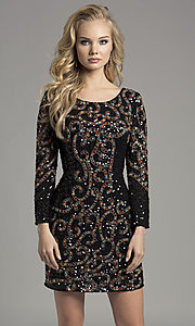 Black Sequin Homecoming Dress with Sleeves
