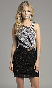 Asymmetrical V-Neck Sequin Homecoming Dress