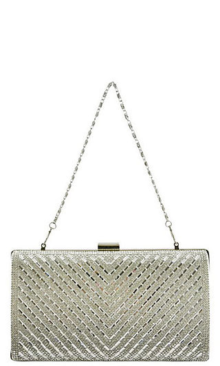 Silver and Clear Chevron Stone Clutch