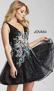Short V-Neck Jovani Homecoming Dress with Embroidery