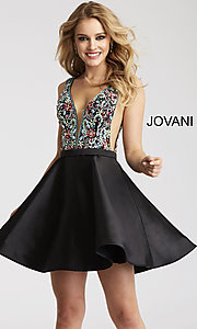 Short Open-Back Jovani Homecoming Dress with Jeweled Bodice