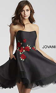 Short Strapless Jovani Homecoming Dress with Pockets