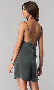 Image of short casual v-neck shift dress in green microfiber. Style: RO-R66135 Back Image