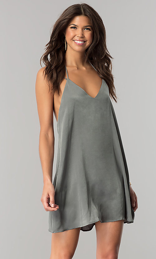 Image of short casual v-neck shift dress in green microfiber. Style: RO-R66135 Detail Image 2