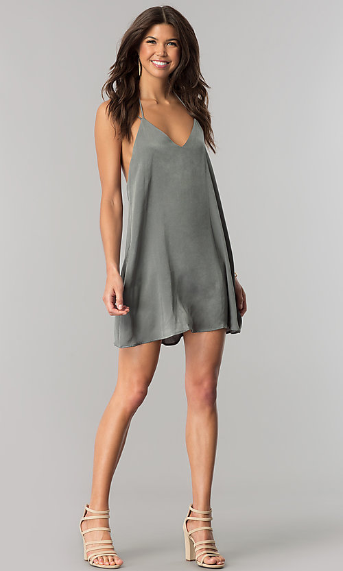 Image of short casual v-neck shift dress in green microfiber. Style: RO-R66135 Detail Image 3