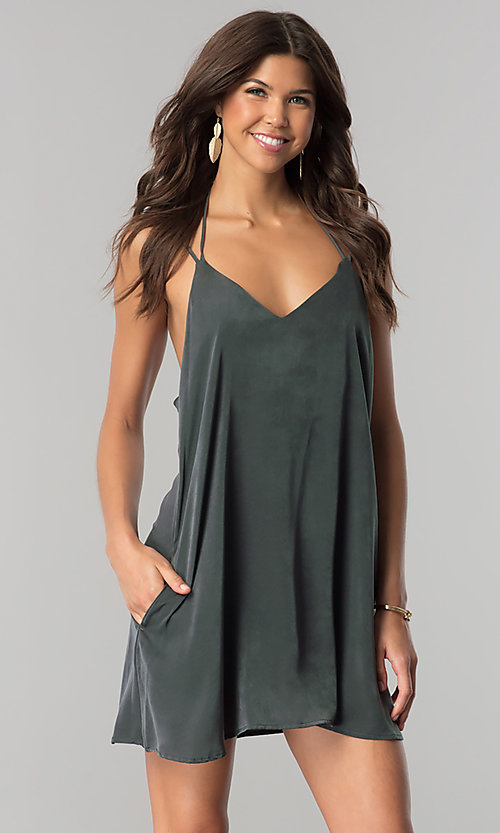 Image of short casual v-neck shift dress in green microfiber. Style: RO-R66135 Front Image
