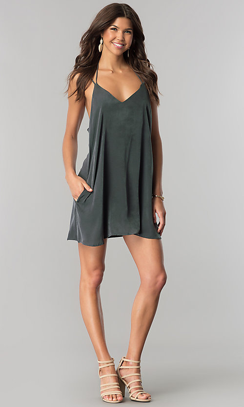 Image of short casual v-neck shift dress in green microfiber. Style: RO-R66135 Detail Image 1
