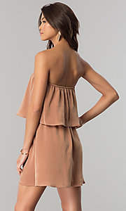 Image of short strapless casual cruise dress in microfiber. Style: RO-R66331 Back Image