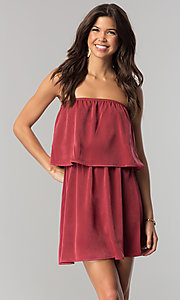 Image of short strapless casual cruise dress in microfiber. Style: RO-R66331 Front Image