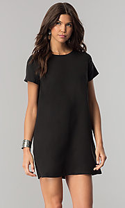 Short Casual Shift Mini Dress with Short Sleeves