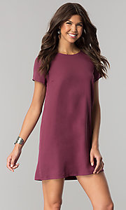 Image of short casual shift mini dress with short sleeves. Style: RO-R64644 Detail Image 2