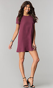 Image of short casual shift mini dress with short sleeves. Style: RO-R64644 Detail Image 3