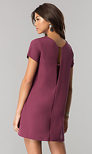 Image of short casual shift mini dress with short sleeves. Style: RO-R64644 Back Image