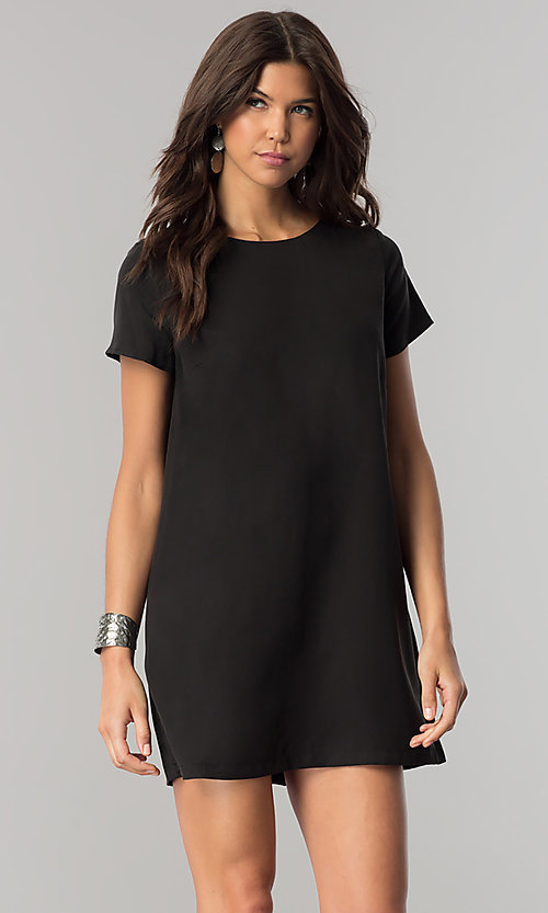 Image of short casual shift mini dress with short sleeves. Style: RO-R64644 Front Image