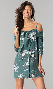 Button Front Short Floral Print Off-the-Shoulder Shift